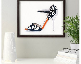 Sophia Webster Black white & orange Fashion Shoe Original Painting size 10 x 8 inches,