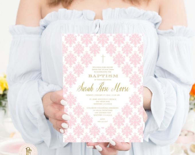 Baptism invitation - Christening invitation - Dedication invitation - Baptism - Christening - Dedication invite - Girls Baptism Invite - 109