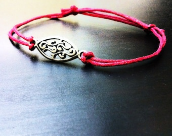 Swirls of Passion Bracelet - Red Cord, Red Bracelet, Pewter Jewelry, Gift For Her, Adjustable Cord, Unisex, Valentine's Day Jewelry,