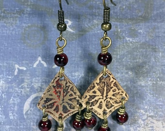 Etched Brass Earrings, Art Deco Earrings with Red Dangles - Free Domestic Shipping