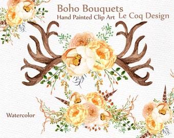Antlers Watercolor Clipart WEDDING CLIP ART Bouquets Diy Invites Invitation Boho