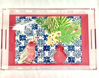 PINK PARROT and PORTUGESE Tiles 11x17 Acrylic Tray