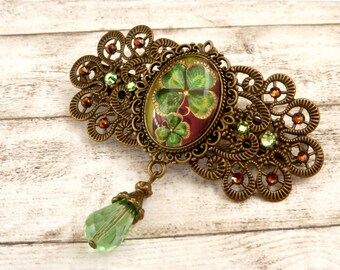 Hair barrette with four leaf clover leaf lucky charm green bronze antique hair jewelry gift for her hair accessory hair style