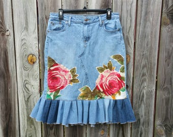 Upcycled Woman Jean Skirt, OOAK Recycled Denim Mermaid Ruffle Women Skirt, Refashioned Floral Appliqué BOHO Hippie Denim Jean Skirt, Size 9
