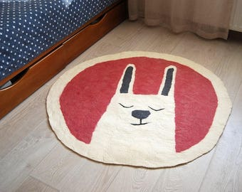Hare rug, natural warm rug for the children's room