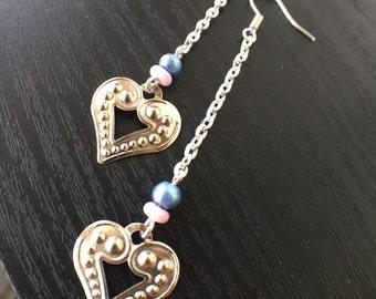 Silver Heart Earrings, Silver Chain Earrings, Heart Earrings, Heart Jewelry, Long Dangle Earrings, Valentine's Jewelry, Valentine's Earrings