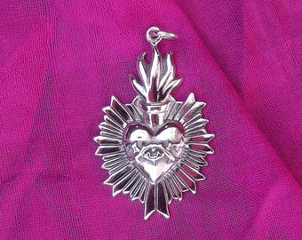 Sterling Silver Sacred Heart with Thorns Charm