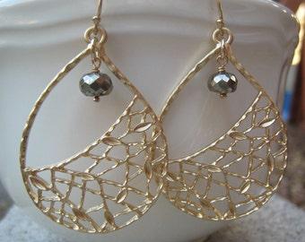 Large Gold Earrings, Metallic Earrings, Pyrite Earrings, Gold Hoops, Fools Gold, Gray and Gold, Metallic, Irisjewelrydesign, Fashion