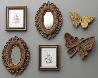Wall art gallery - Bohemian Natural- wall collage -  6 piece wall art and vintage mirrors
