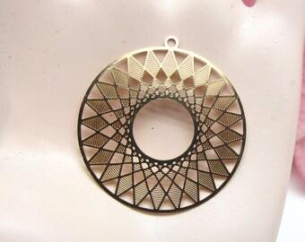 2 pendants Design filigree prints, round, Metal Gold, 27 mm pendant