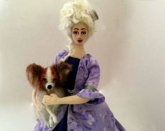 Marie Antoinette doll, cloth art doll, needle felt Papillon dog, poseable doll,  OOAK doll