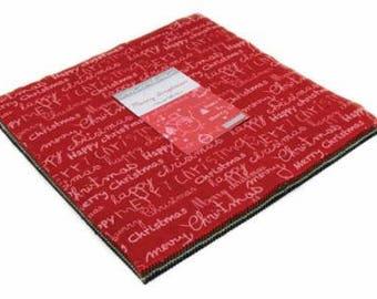 "Merry Scriptmas by MODA - 42- 10""x 10"" Layer Cake (33260LC) Precut Quilting Fabric"