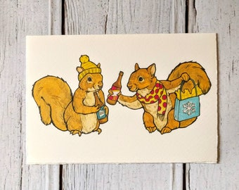 Beer Squirrel Winter Notecard
