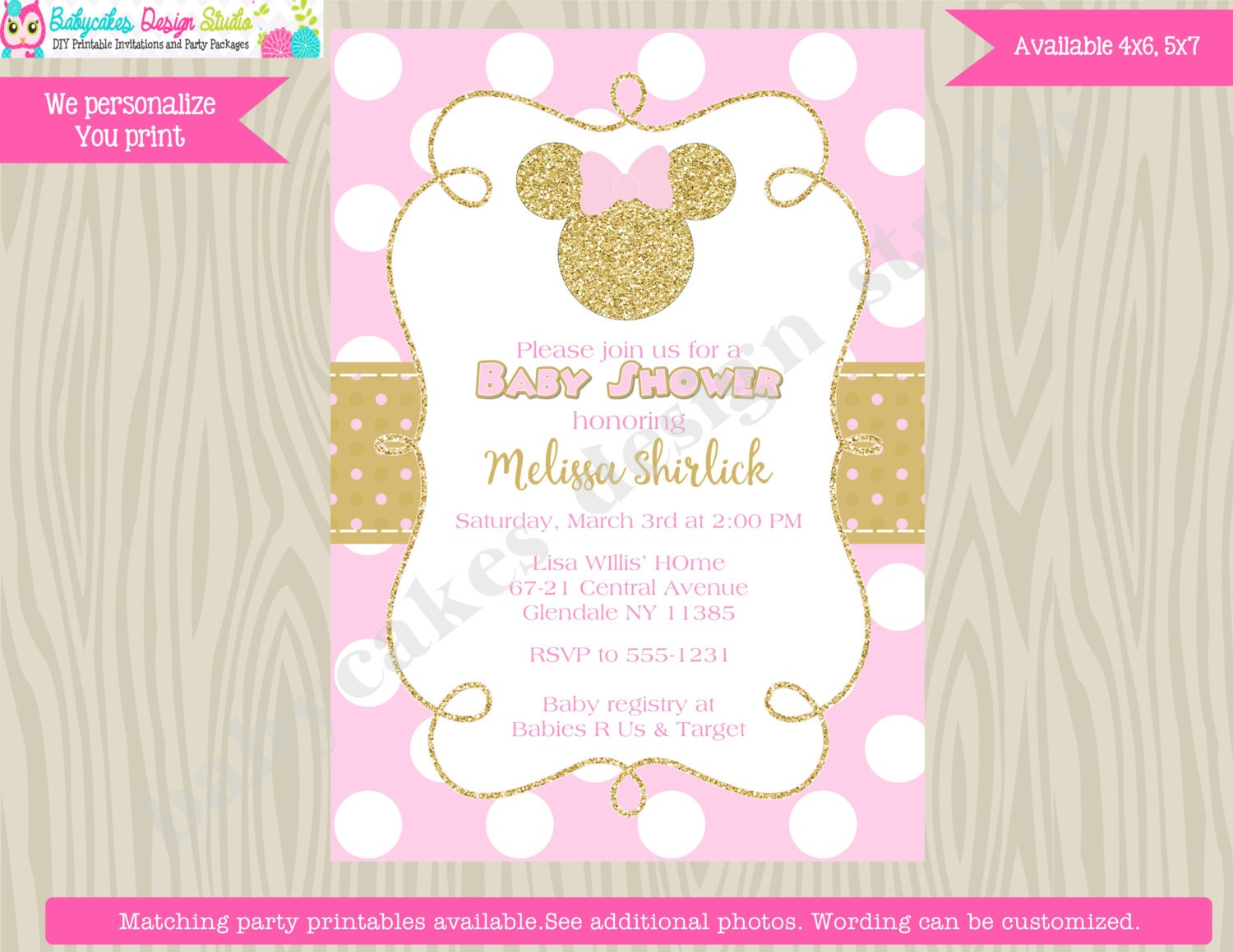 Minnie Mouse Baby Shower Invitation Invite Pink and Gold
