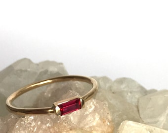 Ruby ring, baguette ring, 14k rose gold, art deco jewelry, ruby baguette, july birthstone, rectangle stone engagement, dainty stack ring