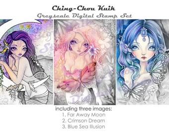 Onder de zee Set 2-Greyscale afdrukbare Instant Download digitale stempel / zeemeermin Butterfly maan meisje kunst door Ching-Chou Kuik