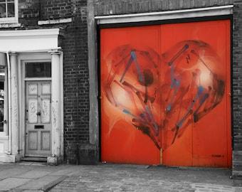 Red Heart, Love, Graffiti, Street Art Print, London Photography, Fine Art, Contemporary Wall Art, Urban Photography, Valentines, For Him