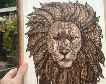 Lion Portrait/Woodburned Art