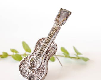 Filigree Guitar Brooch - Silver - Wire Work - Classical Guitar - Music - 6 String - Instrument - Musical