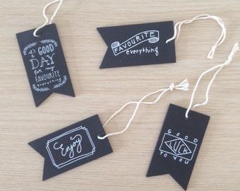 Set of 4 chalkboard gift tags (TG01)