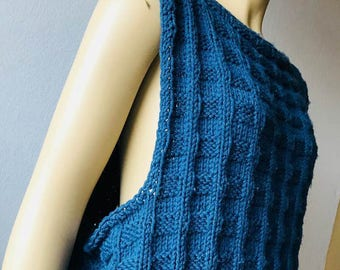 Fishermans Sweater, Vintage 80s sweater, Cable Knit pullover, Crew Neck Sweater Blue Sweater
