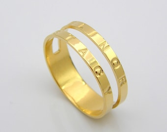 Personalized Stackable ring name rings personalized rings engraved rings custom rings initial ring gold name rings for women mothers rings