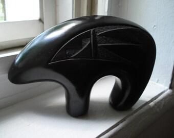 Vintage Native American Artist Signed Black on Black Pottery Medicine Bear