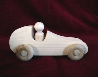 Unfinished Pine Race Car with Peg Doll Driver