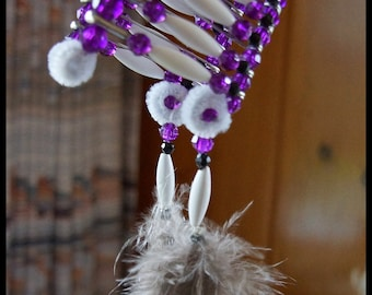Indian Headdress- Beaded-Purple and White with Feathers and Silk Cord