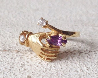 30% SALE! Vintage 14k yellow gold Amethyst and cubic zirconia hand ring. unique vintage jewelry. hand finger ring