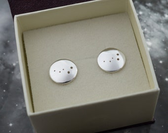 Silver Cassiopeia earrings: Sterling silver earrings showing the constellation of Cassiopeia.