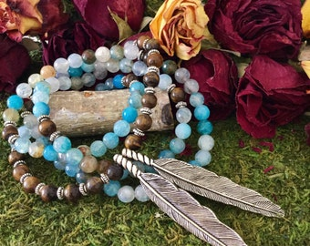 Yoga Beads Feather Necklace   Blue Agate Tiger Eye 108 Bead Mala w/ Native American Tribal Feathers   Yoga Mala for Meditation by MayanRose