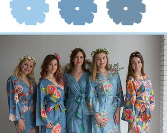 Shades of Dusty Blue Wedding Color Bridesmaids Robes - Premium Soft Rayon - Wider Belt and Lapels - Wider Kimono sleeves