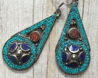 Long Nepali earrings, long blue earrings, blue stone long earrings, turquoise earrings, long turquoise earrings