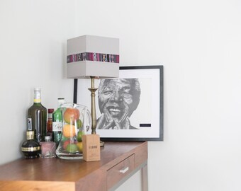 Nelson Mandela black and white graphite portrait  // limited edition prints // black and white print// illustration print