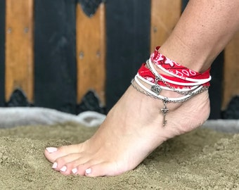 Foot bracelet bandana Ribbon and faux suede cords, with charms and stainless steel chain