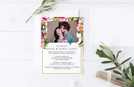 Spring Floral Rustic Funeral Announcement Invitation Template