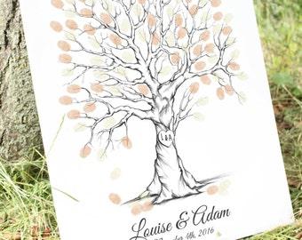 Thumb Print Wedding Tree Guest Book Alternative Fingerprint Guestbook, Unique Guest Book Ideas, Custom Guest Book, fingerprint tree