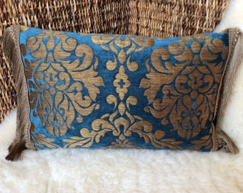 Velvet Brocade Pillow Blue/gold bronze-fringe trimmings, historic ornaments, middle age, middle age, woven fabric cover Pillow