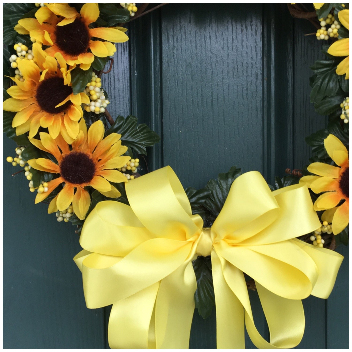 Sunflower Door Wreath. Floral Wreath. Sunflower Decor. Front Door ...