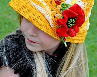CROCHET PATTERN Double Fun in the Sun Crocheted Hat & Poppy Pin Set. Sizes Baby to Adult Pattern in PDF
