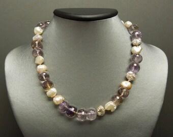 "Vintage Estate C1980 14K Gold Natural Biwa Pearl & 190TCW Amethyst Ametrine Gemstone Necklace 15.5"""