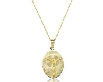 14K Solid Yellow Gold Jesus Oval Medal Pendant Singapore Chain Necklace Set - Christ Crucifix Charm