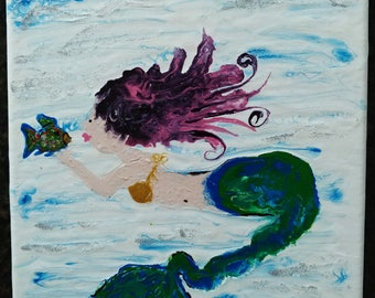Mermaid's Kiss Fluid Art acrylic painting 8x10 canvas