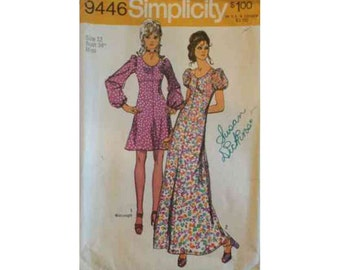 1970s Simplicity 9446 Dress Vintage Pattern Size 12