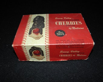 Vintage Nutrine Candy Company Sunny Valley Chocolate Covered Cherries Candy Box - circa 1950 - from DustyMillerAntiques
