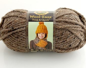 Lion Brand Wool-Ease Yarn. Thick. Barley. Chocolate. Brown. Cream. Bulky.
