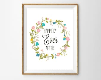 Happily Ever After Floral Wreath Print for the Home - Personalized Monogram - Wedding Print - Instant Download - Print at Home