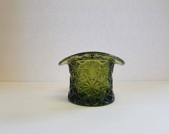 Vintage Fenton green glass hat