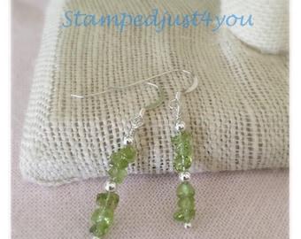 Peridot and Sterling Silver Dangle Earrings, August birthstone